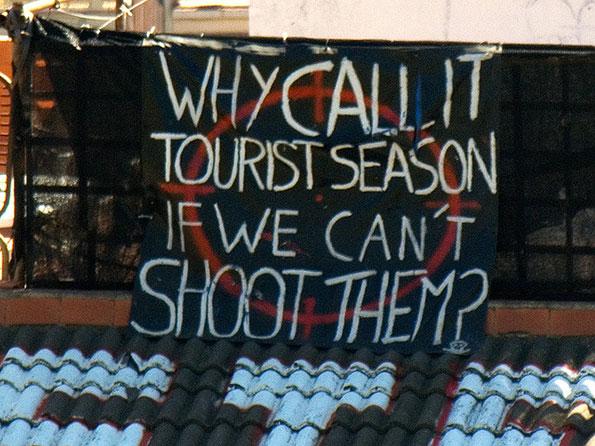 Anti-tourist graffiti in Barcelona