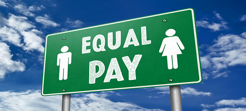 Equal Pay traffic sign message